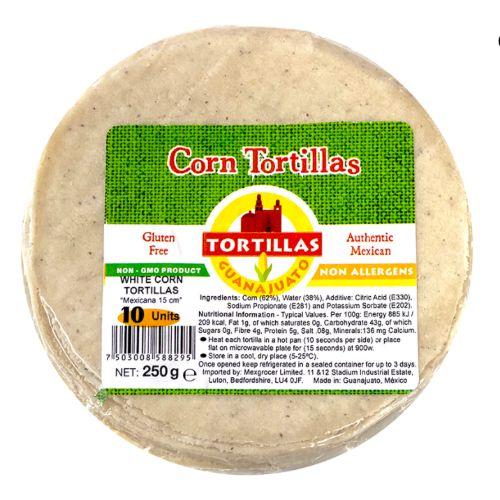 Guanajuato Mexican White Corn Tortillas x10 15cm 250g