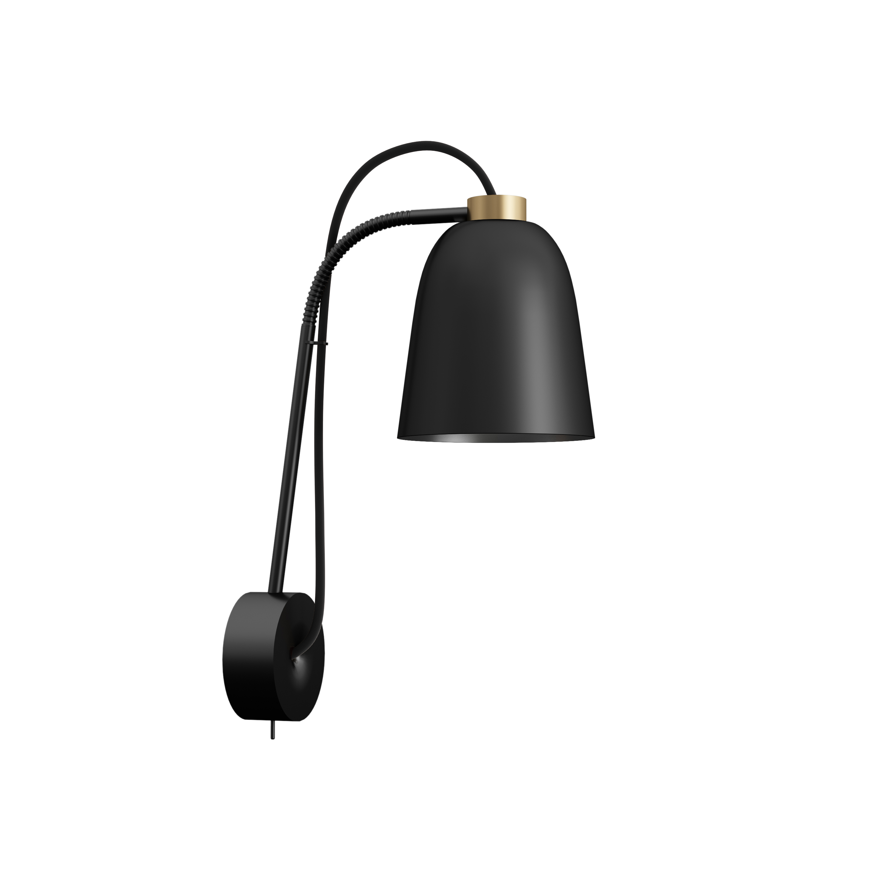 SUMMERA Wall Matt Black - Gold + Black Cord (Incl. Matt Black Base)