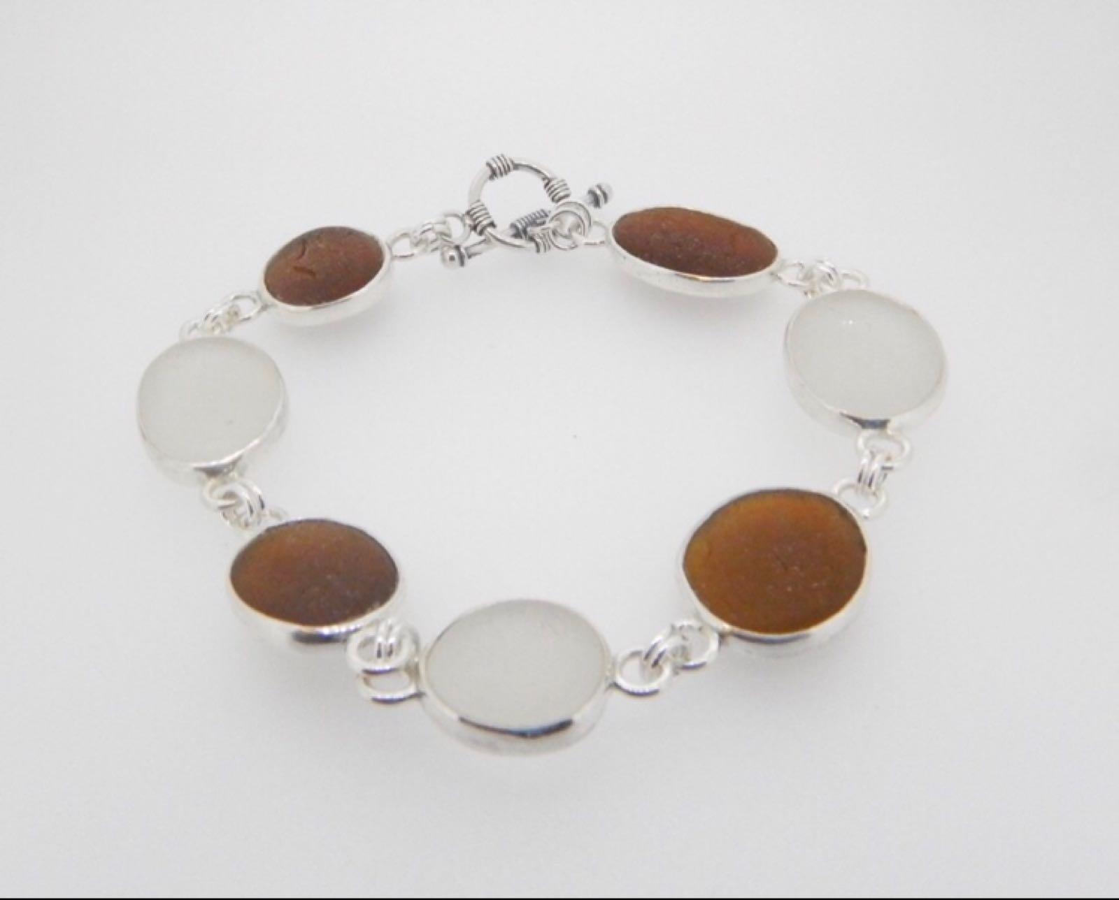 Sea Glass Bracelet Multi Open Bezel