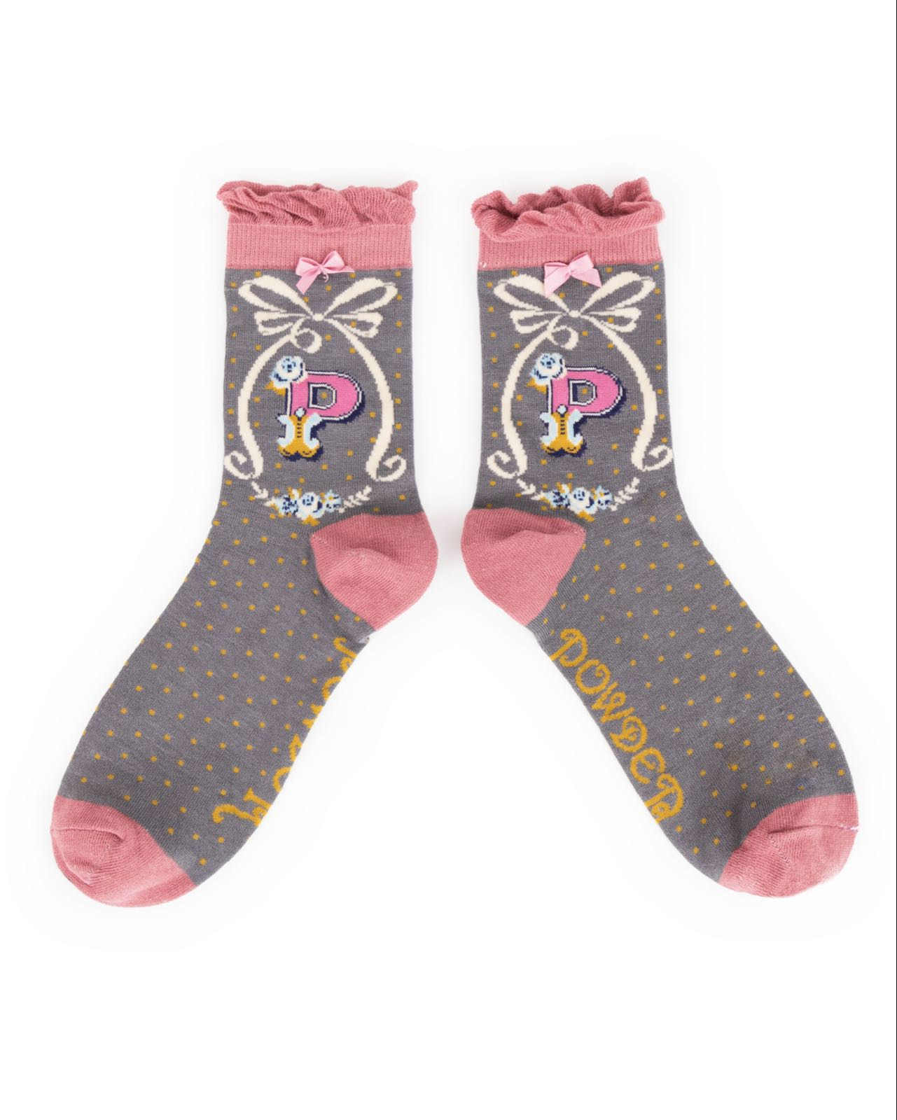 Powder Alphabet socks P (product may differ from item shown in the photo)