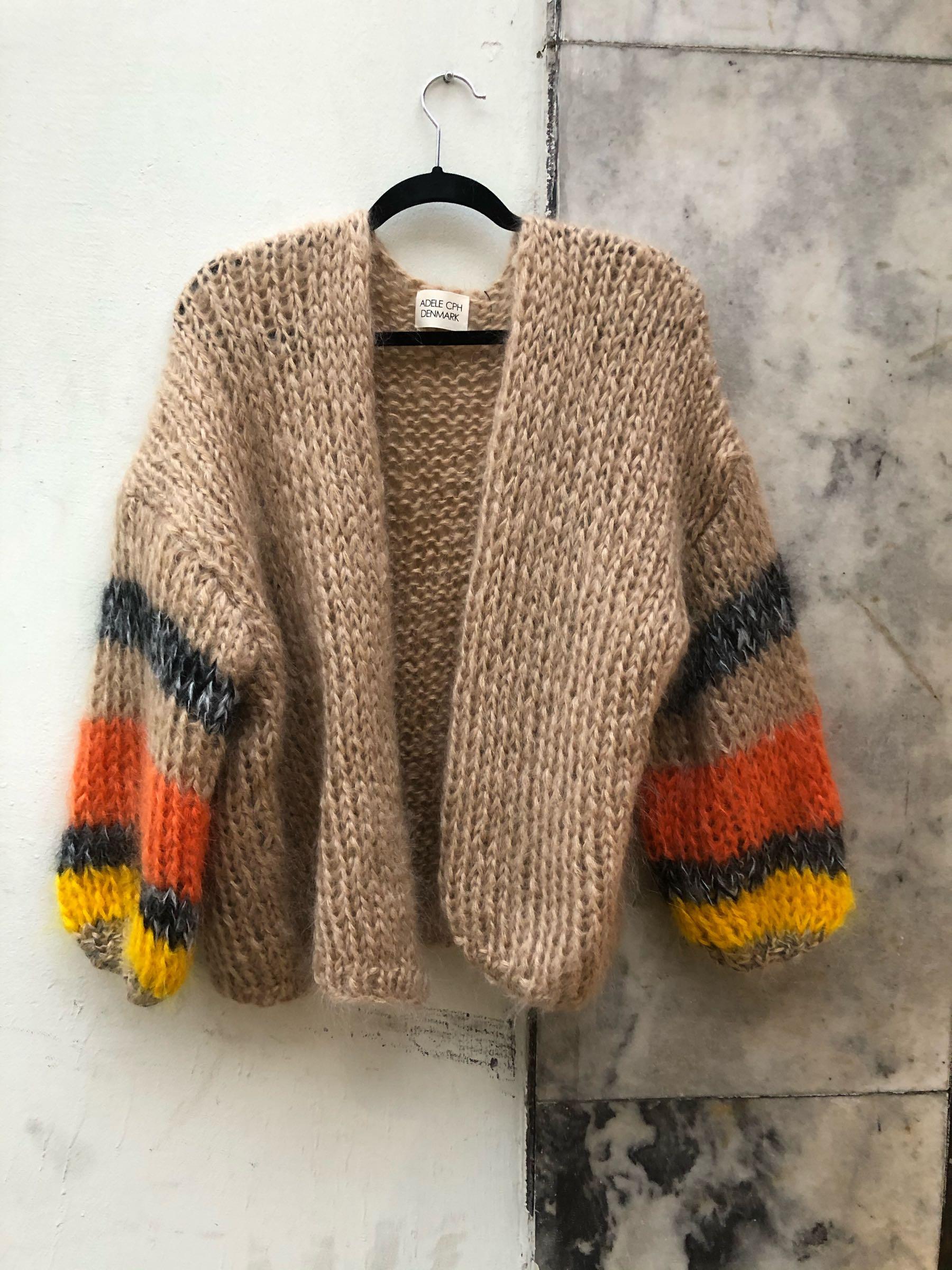 ADELE CPH  cardigan mohair  camel, orange, grey melange
