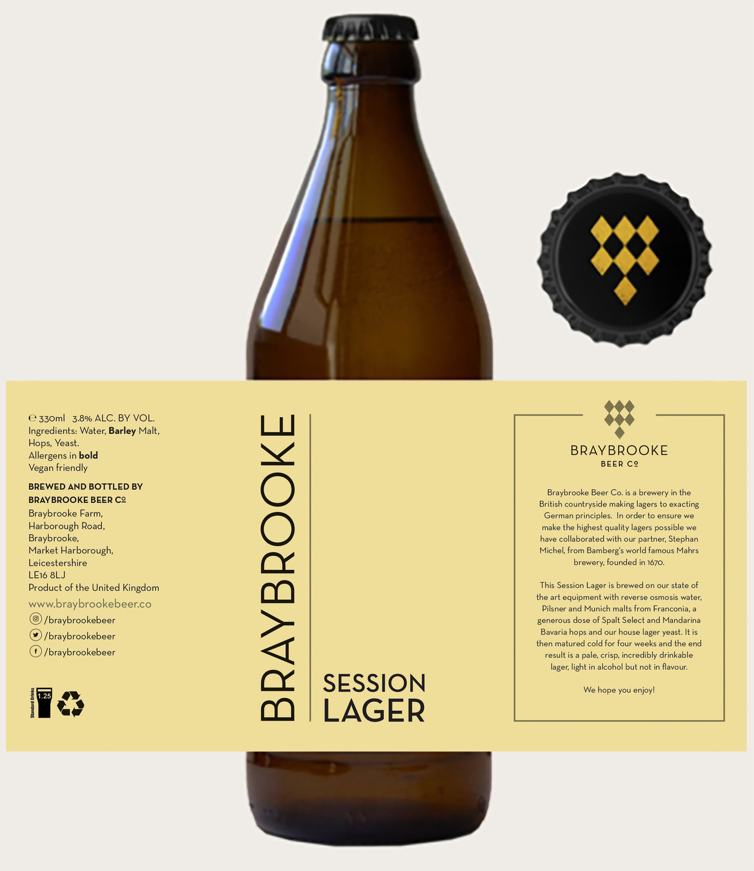 BRAYBROOKE / SESSION LAGER / 3.8% ABV / 330ML