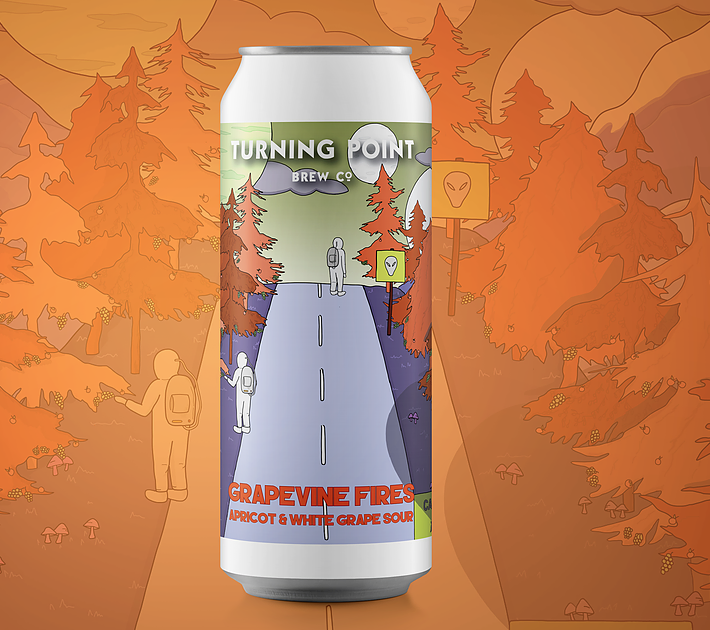 TURNING POINT / GRAPEVINE FIRES / APRICOT WHITE GRAPE SOUR  / 4.9% ABV / 440ML