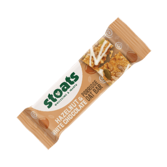Hazelnut & White Choc Stoats Porridge Bar (50g)