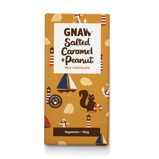 Salted Caramel & Peanut Butter Milk Chocolate Bar, Gnaw