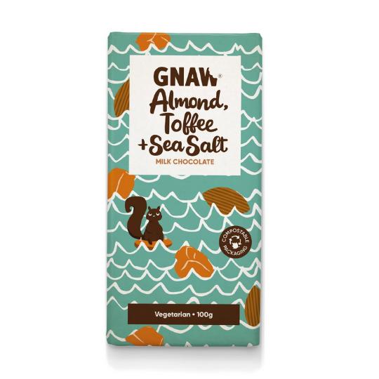 Almond, Toffee & Sea Salt Milk Chocolate Bar, Gnaw
