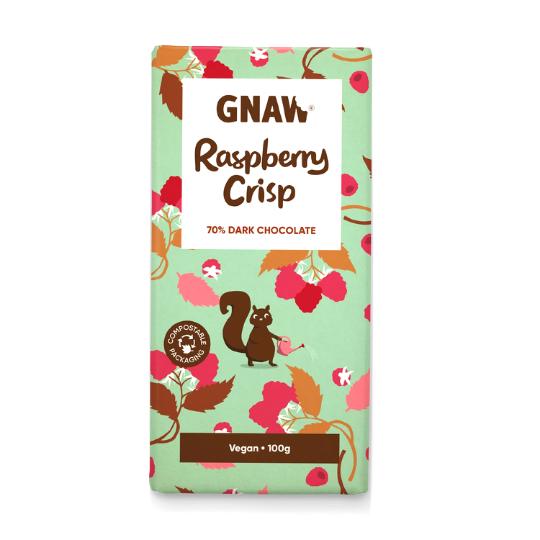 Raspberry Crisp Dark Chocolate Bar, Gnaw