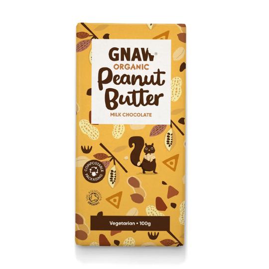 Peanut Butter Milk Chocolate Bar, Organic Gnaw