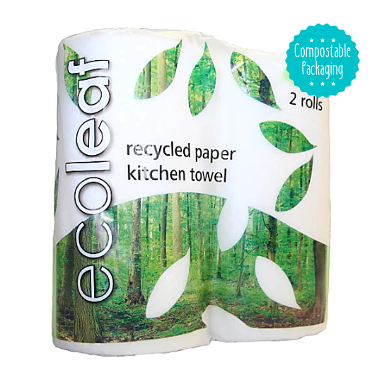 Ecoleaf Kitchen Towels - 2 rolls