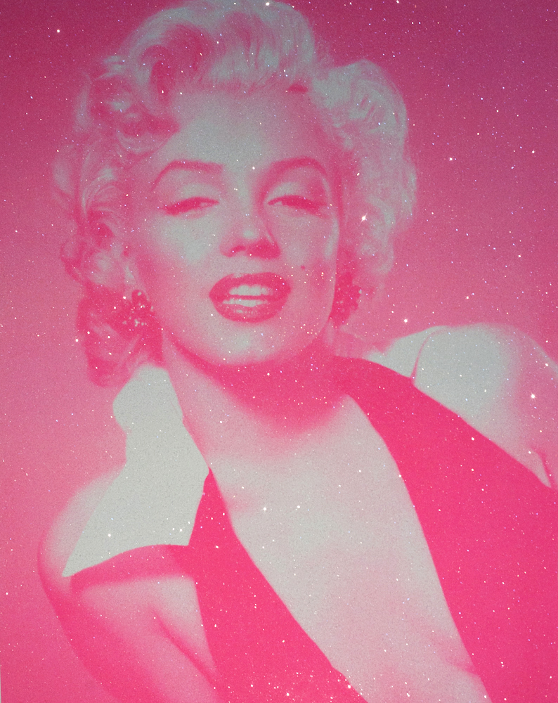 Marylin Monroe With Diamond Dust Candy Floss Pink and Neon Red