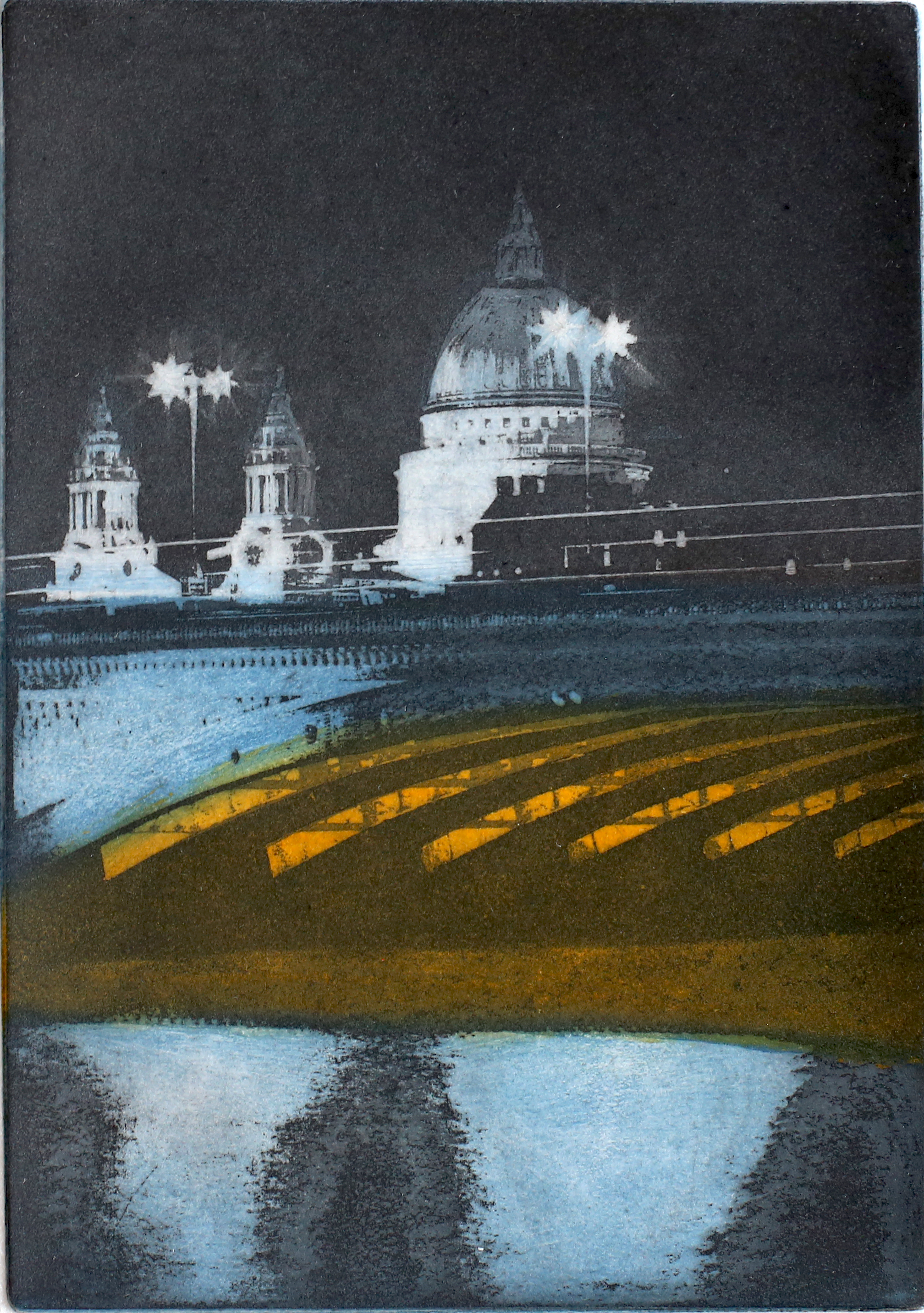 Night Time by the Thames, blue
