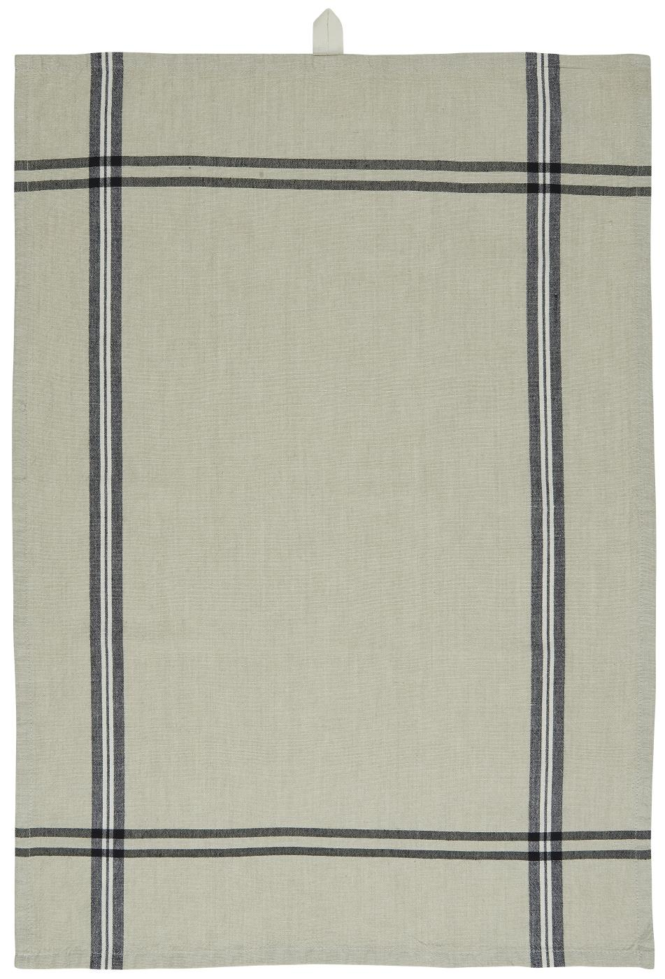 Ib Laursen, keittiöpyyhe, beige + mustat raidat