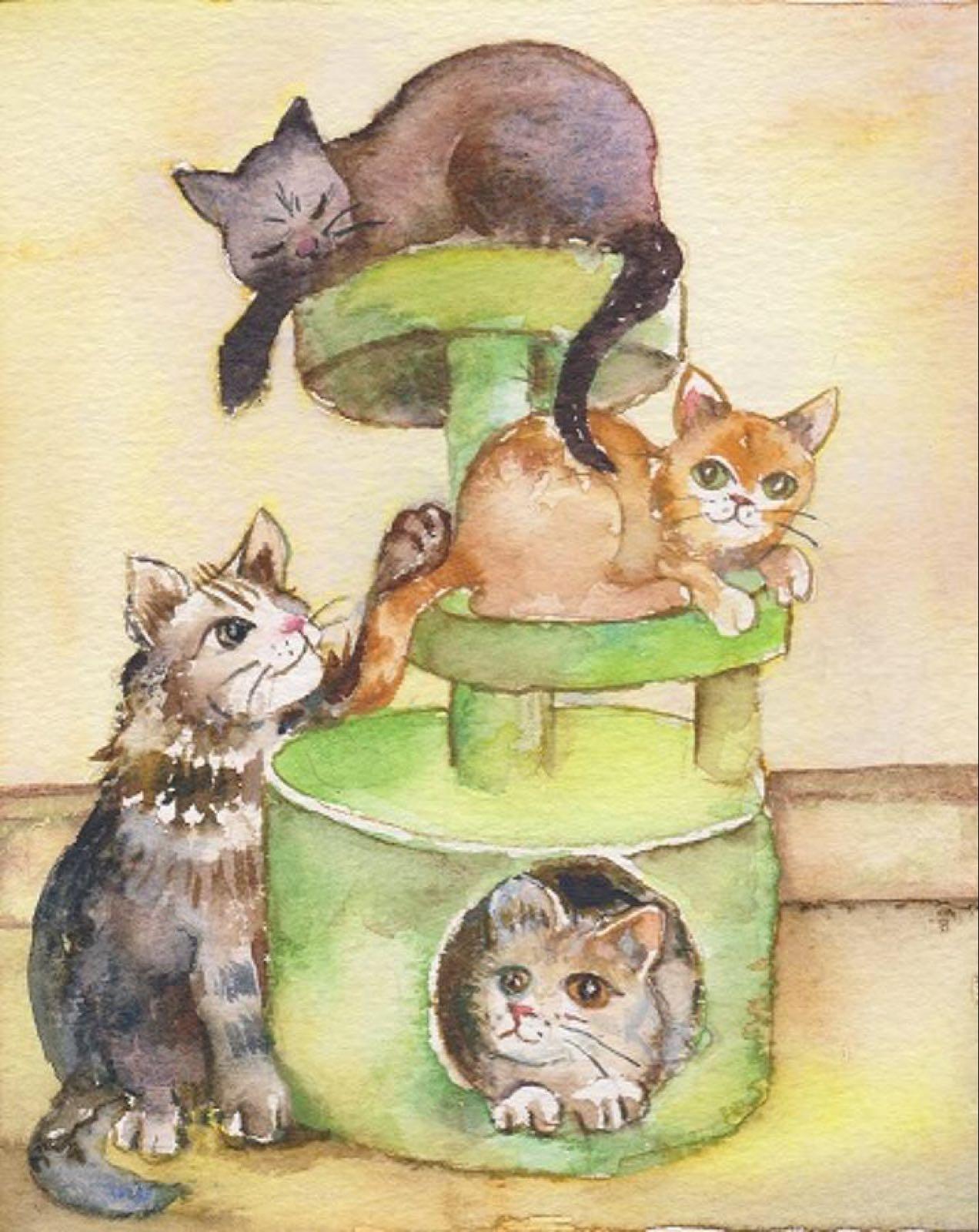 'Cat Tower' Furzedown Gallery Mini Card