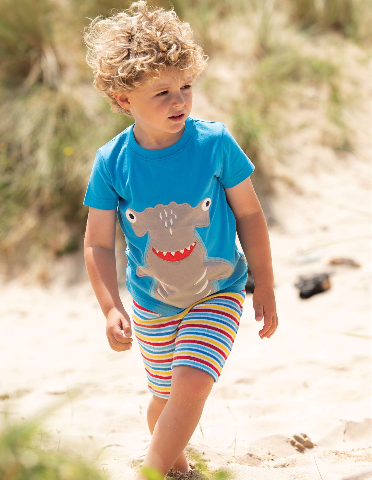 Frugi James Appliqué T Shirt Motosu Blue Shark