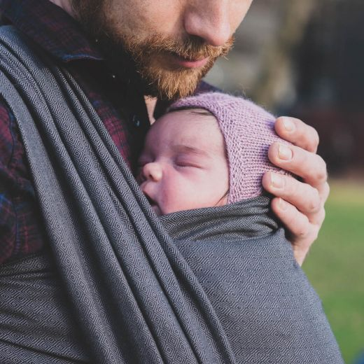 Babytragetuch London schwarz-grau Gr. 7, Hoppediz