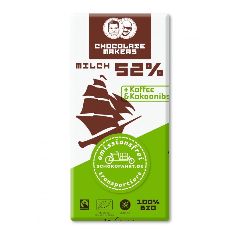 2-Bio-Schokolade 52%, mit Milch,2 Kaffee und Nibs