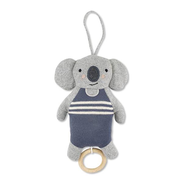 Strickspieluhr Koala blau, Biobaumwolle, Ava & Yves