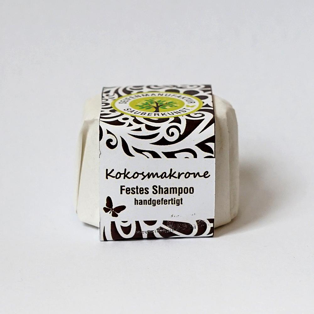 festes Haarshampoo, Kokosmakrone, Sauberkunst