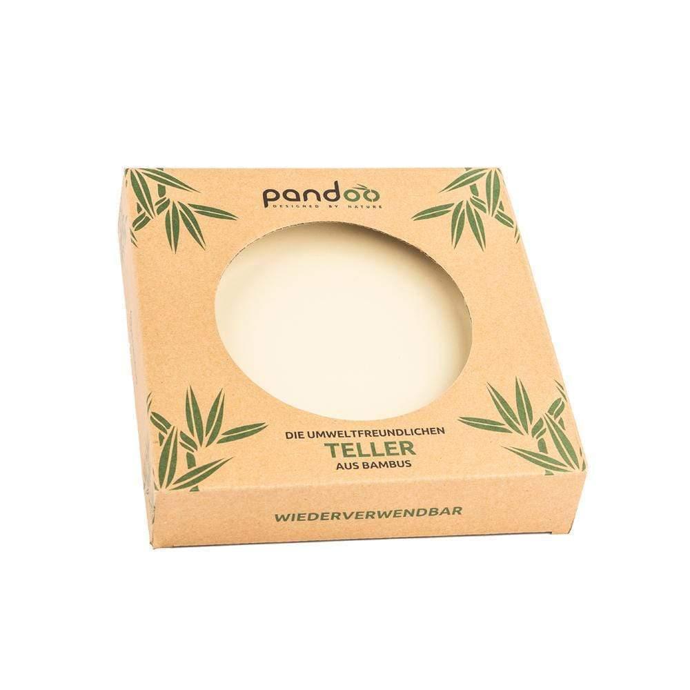 Bambusteller Ø 25 cm, weiß, 6er Pack