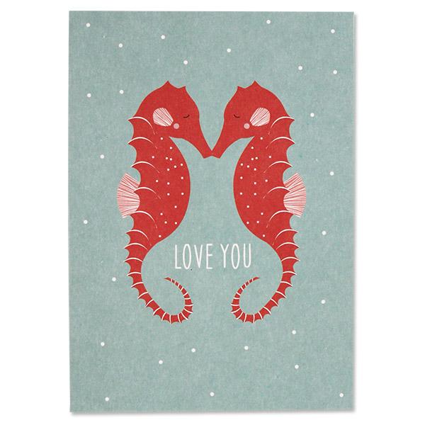 Postkarte Seepferdchen Love You, ava&yves, Recyclingpapier