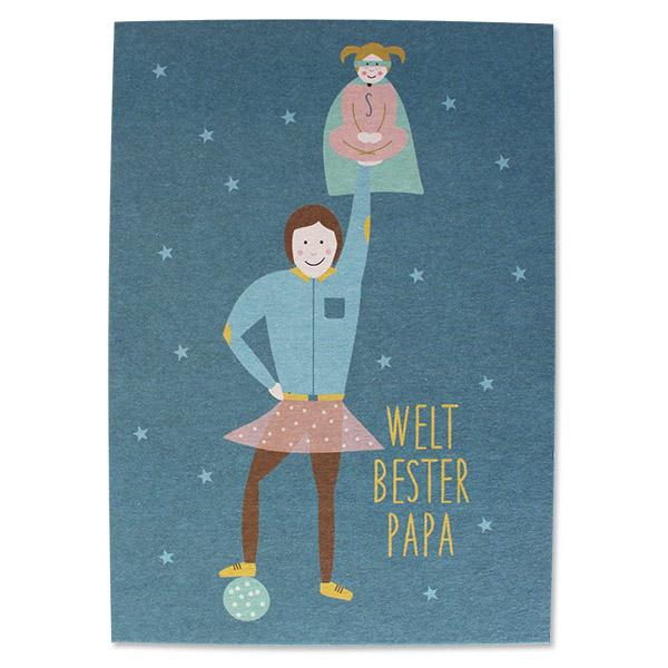 Postkarte bester Papa, Ava&Yves, Recyclingpappe