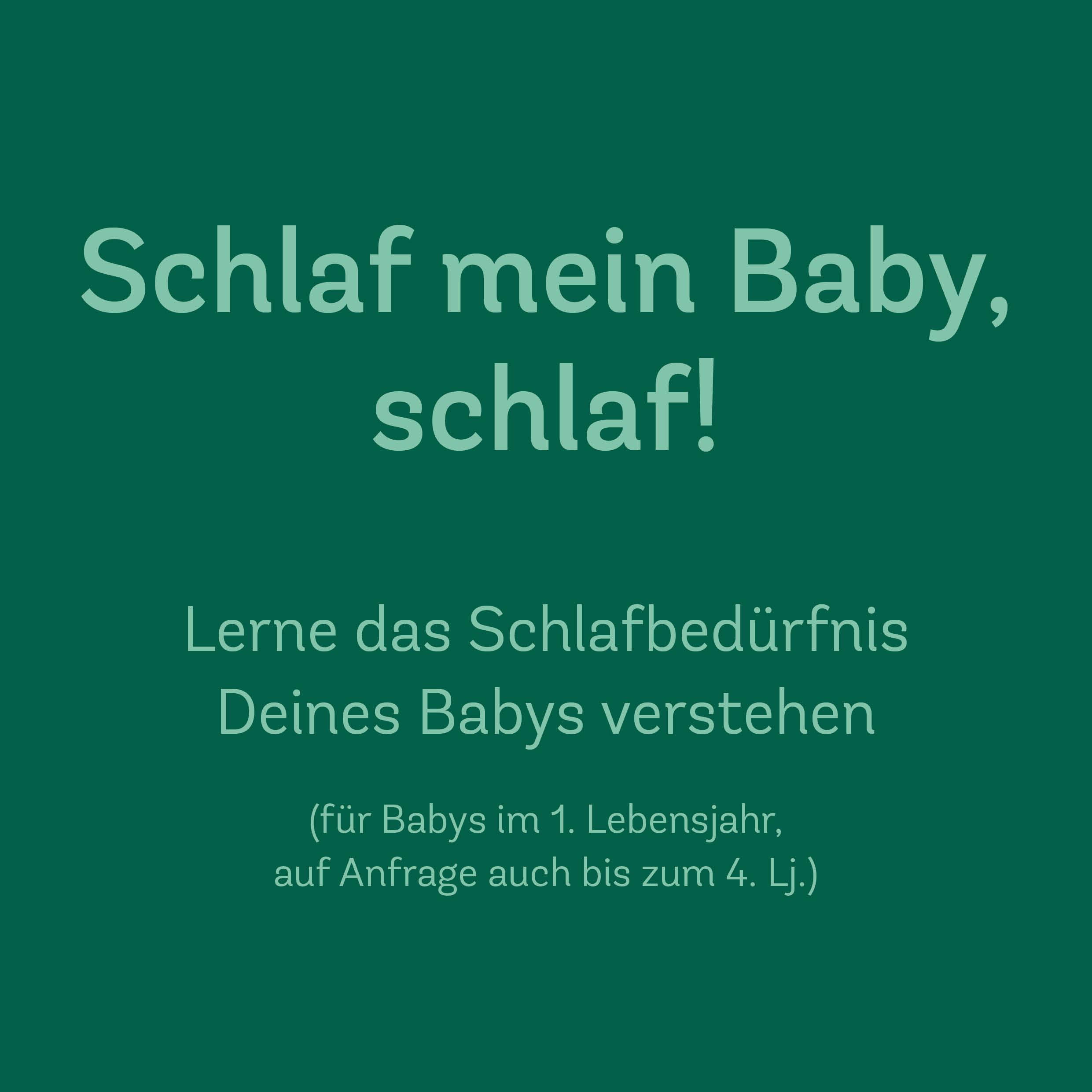Schlaf mein Baby, Schlaf! – Onlinekurs