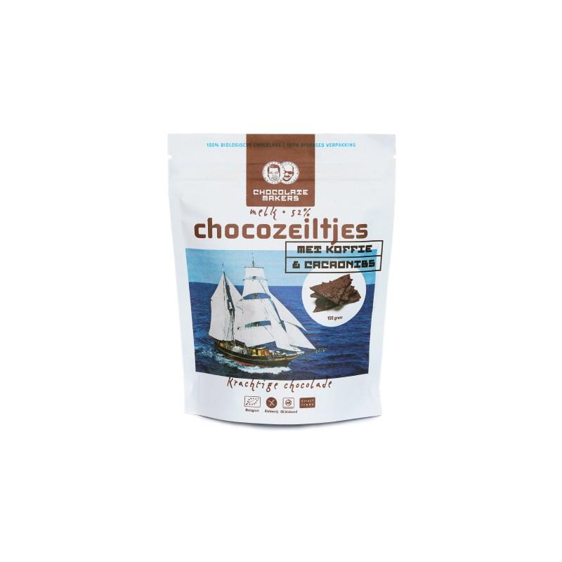 Bio-Schokolade Bruch 52%, Kaffee und Nibs