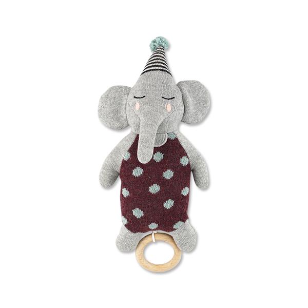 Strickspieluhr Elefant mit Hütchen, Biobaumwolle, Ava & Yves