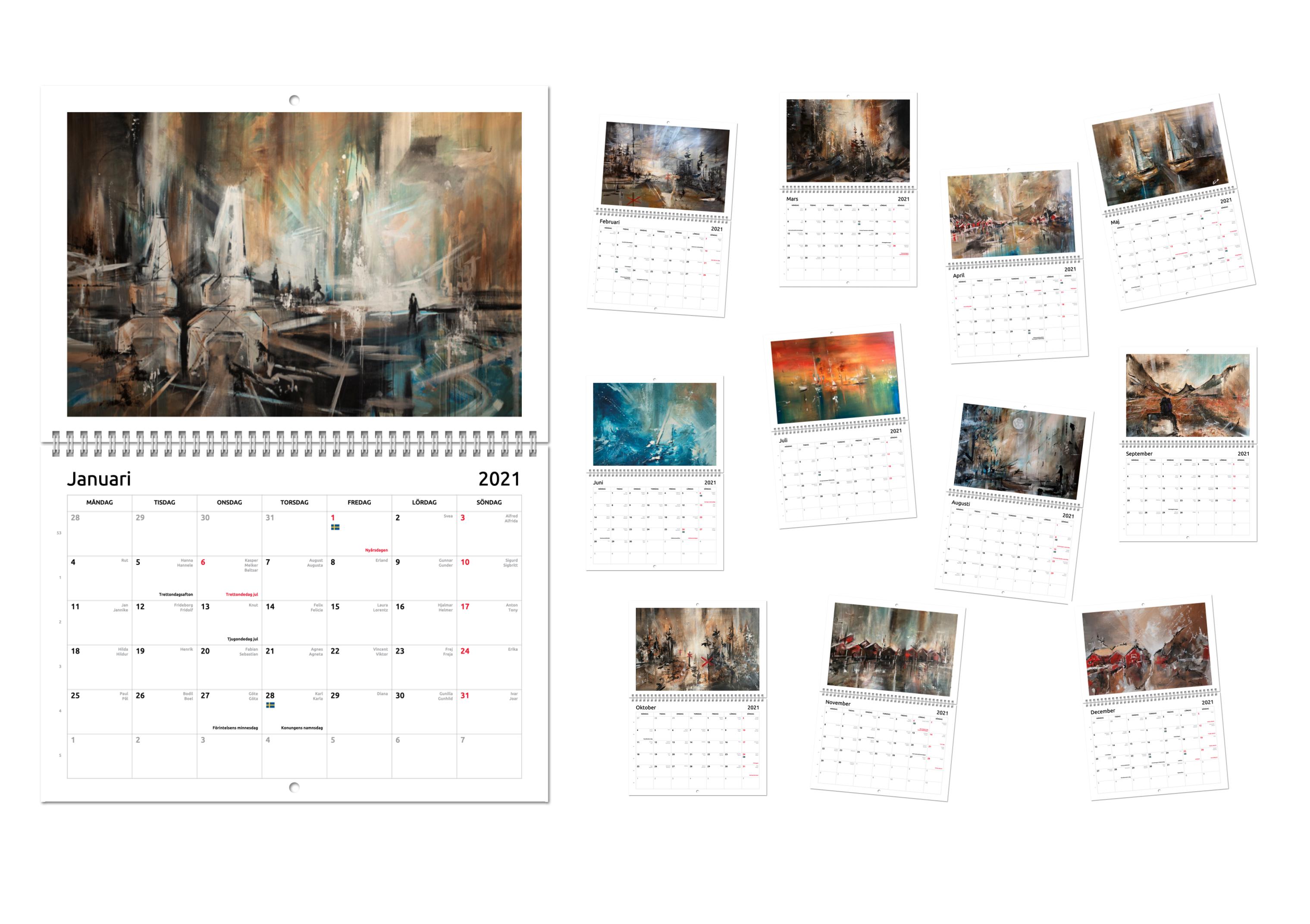 Kalender 2021 med konsttryck
