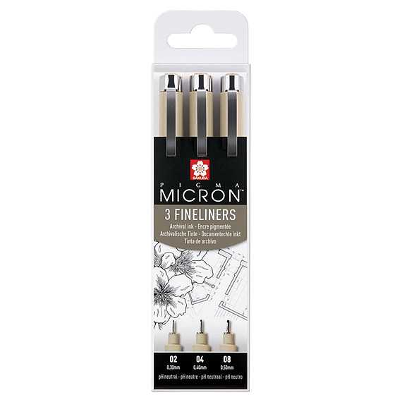 Fine Liners 3-pack Micron 02, 04, 08