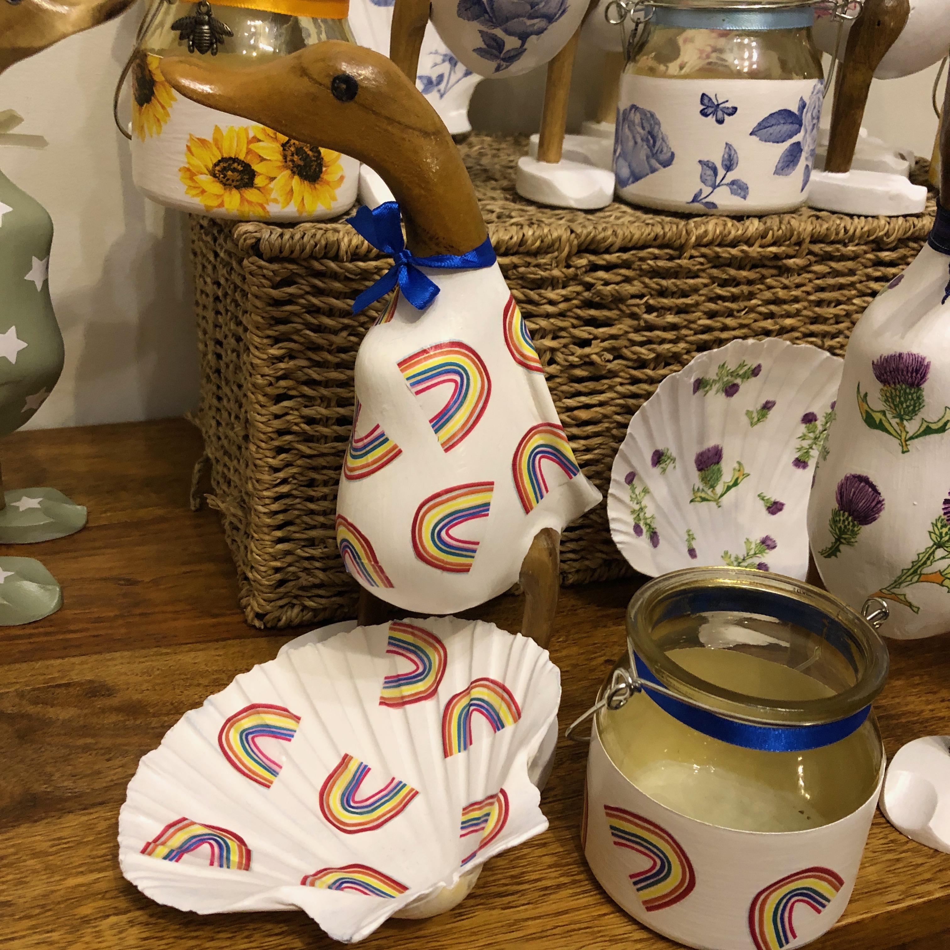 Decoupage Crafts - Ducks, Trinket Dishes & Tea Light Holders