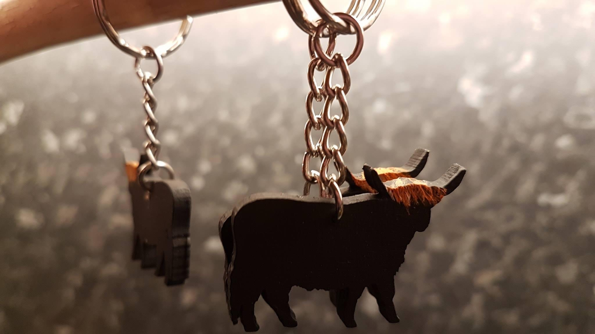 Highland Cow Painted Keyring