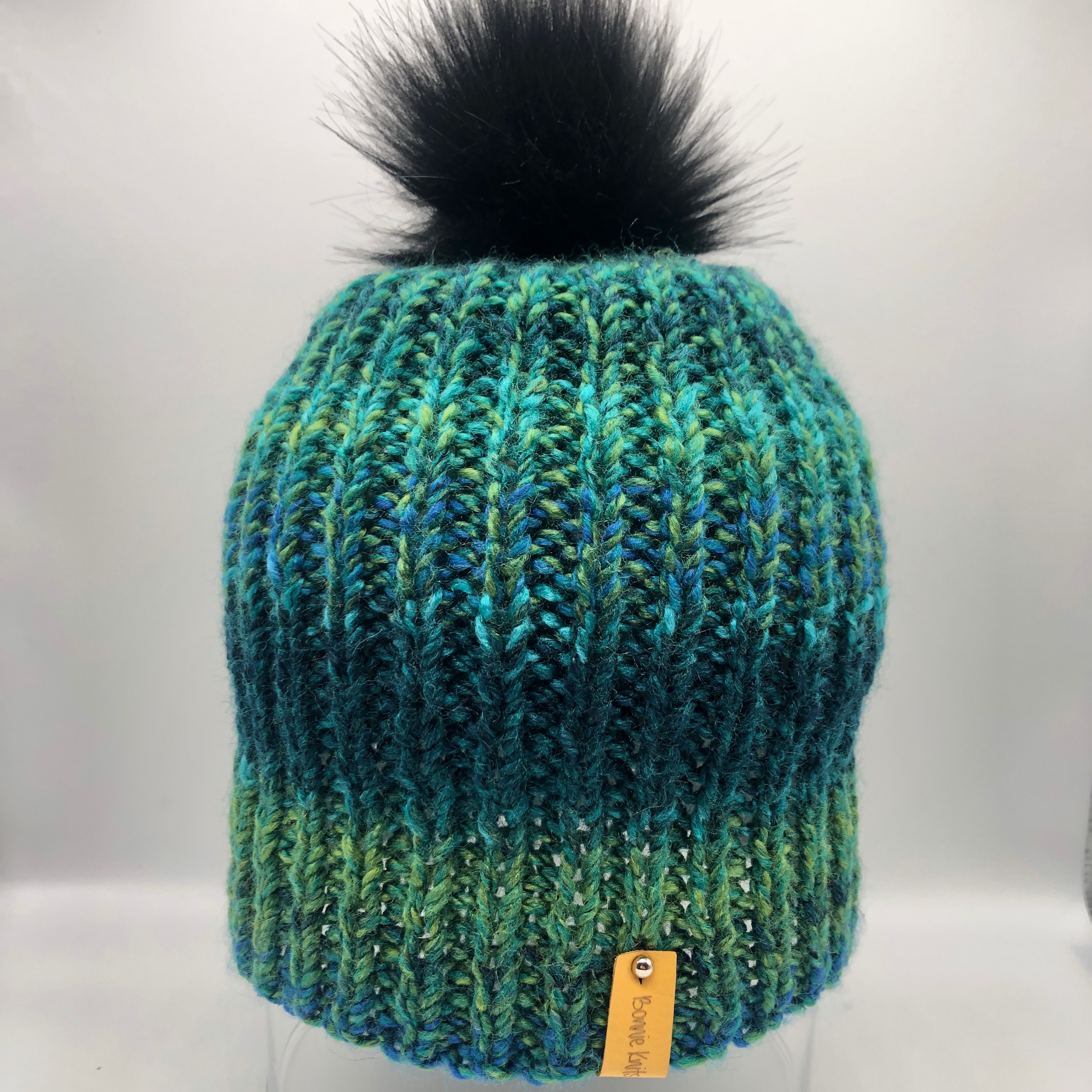Knitted Hat with Detachable Pom Pom
