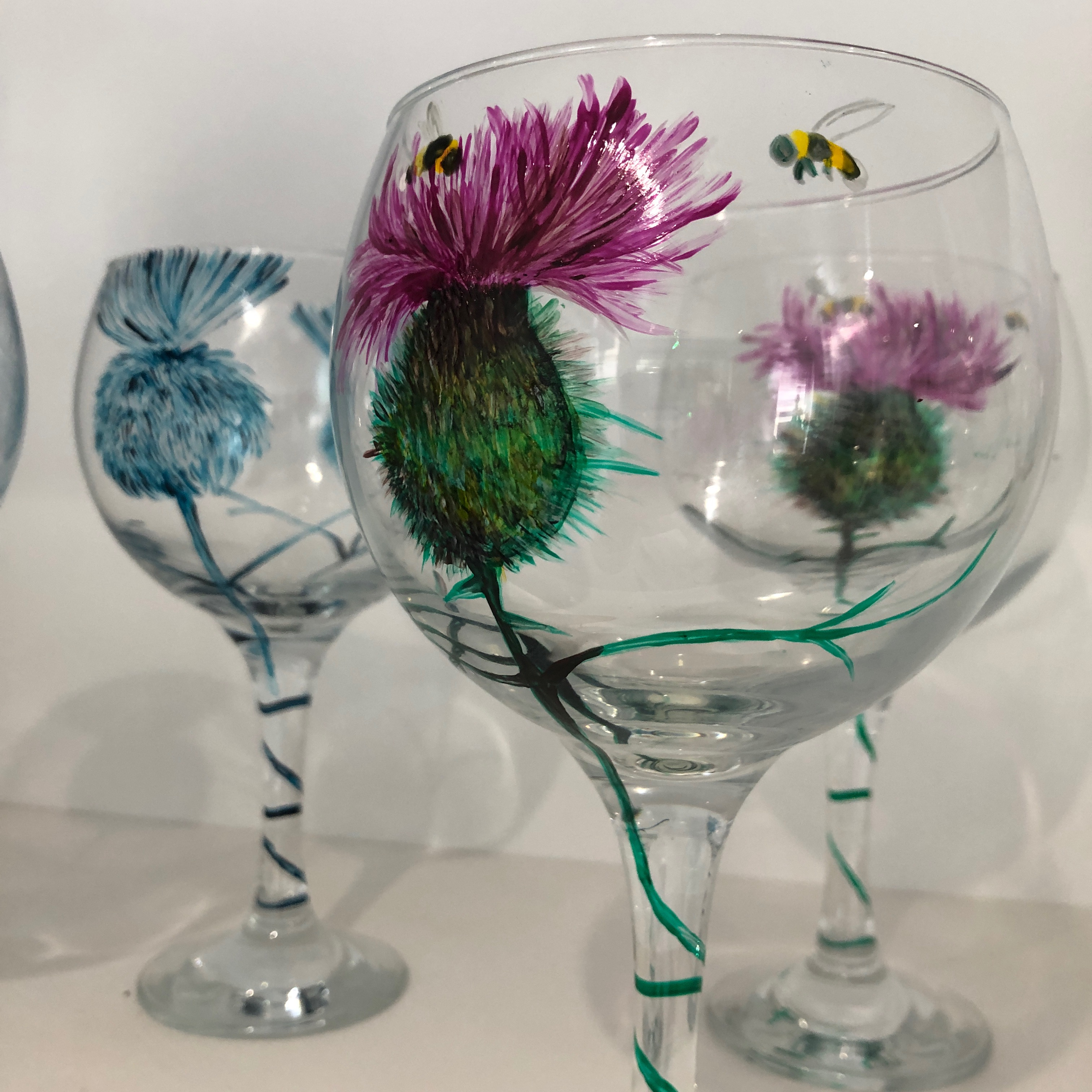 Hand Painted Gin Glasses - Pair