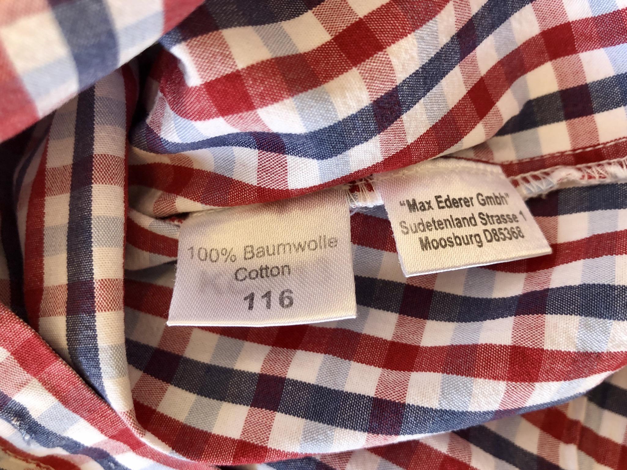 Gr. 116 Isar Trachten Trachtenhemd rot-blau