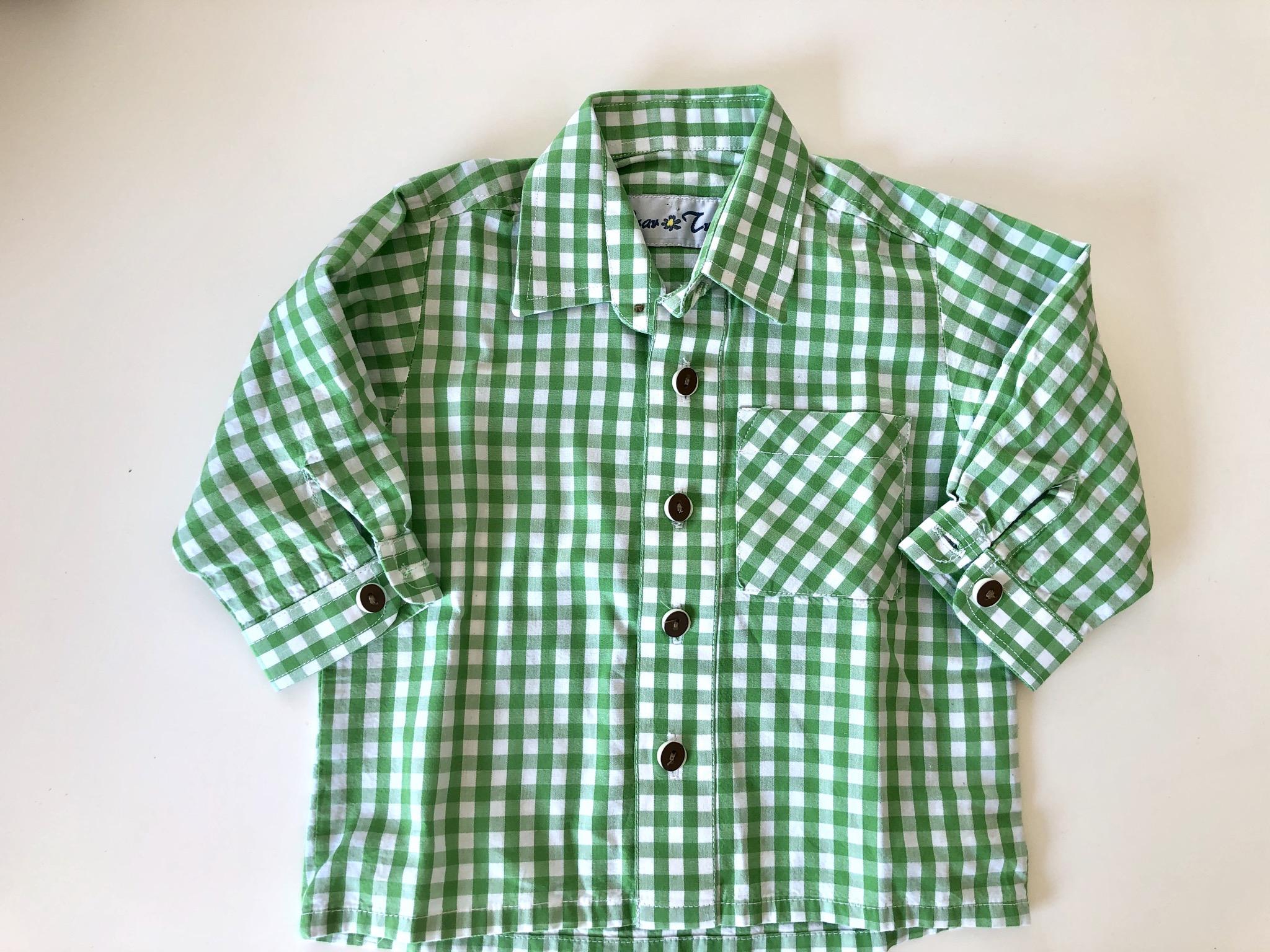 Gr. 80 Isar Trachten Trachtenhemd grün