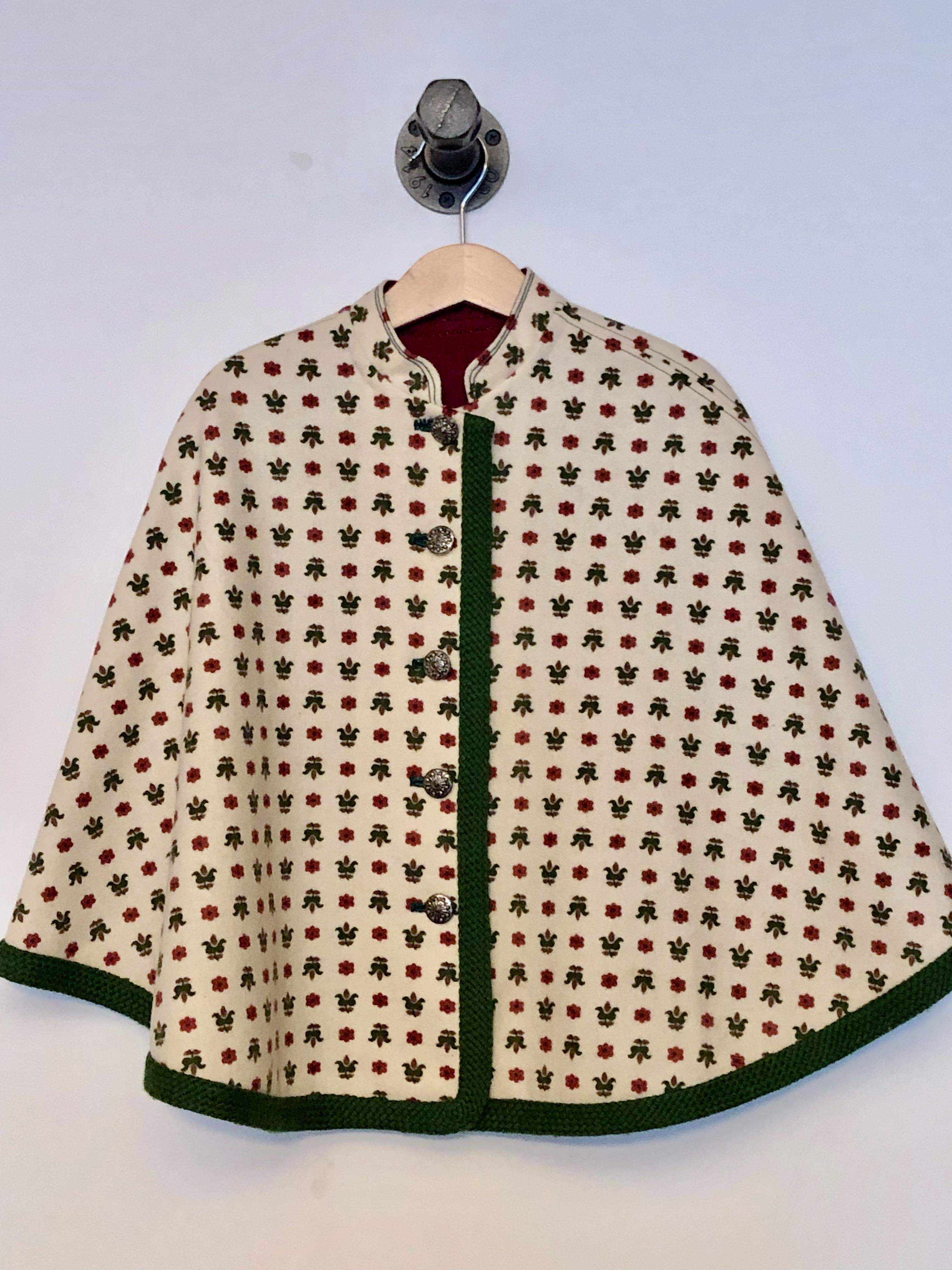 Gr. 122-140 Vintage Trachten-Poncho