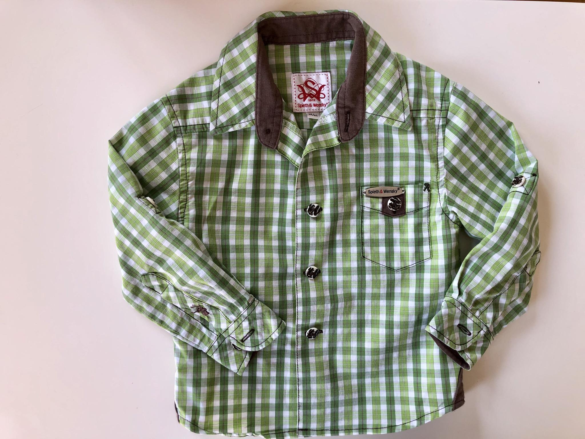 Gr. 74-80 OS Trachten Trachtenhemd grün