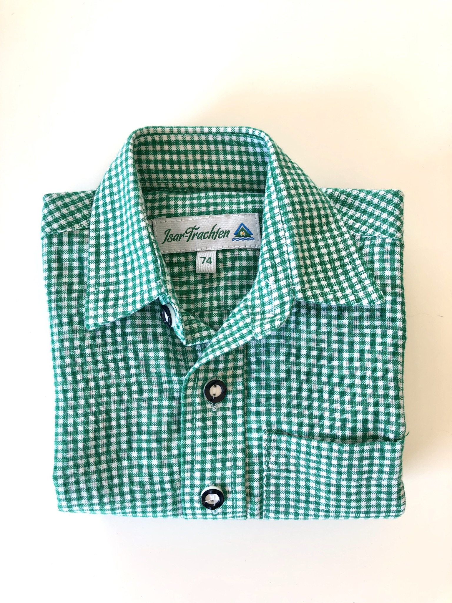 Gr. 74 Isar Trachten Trachtenhemd grün