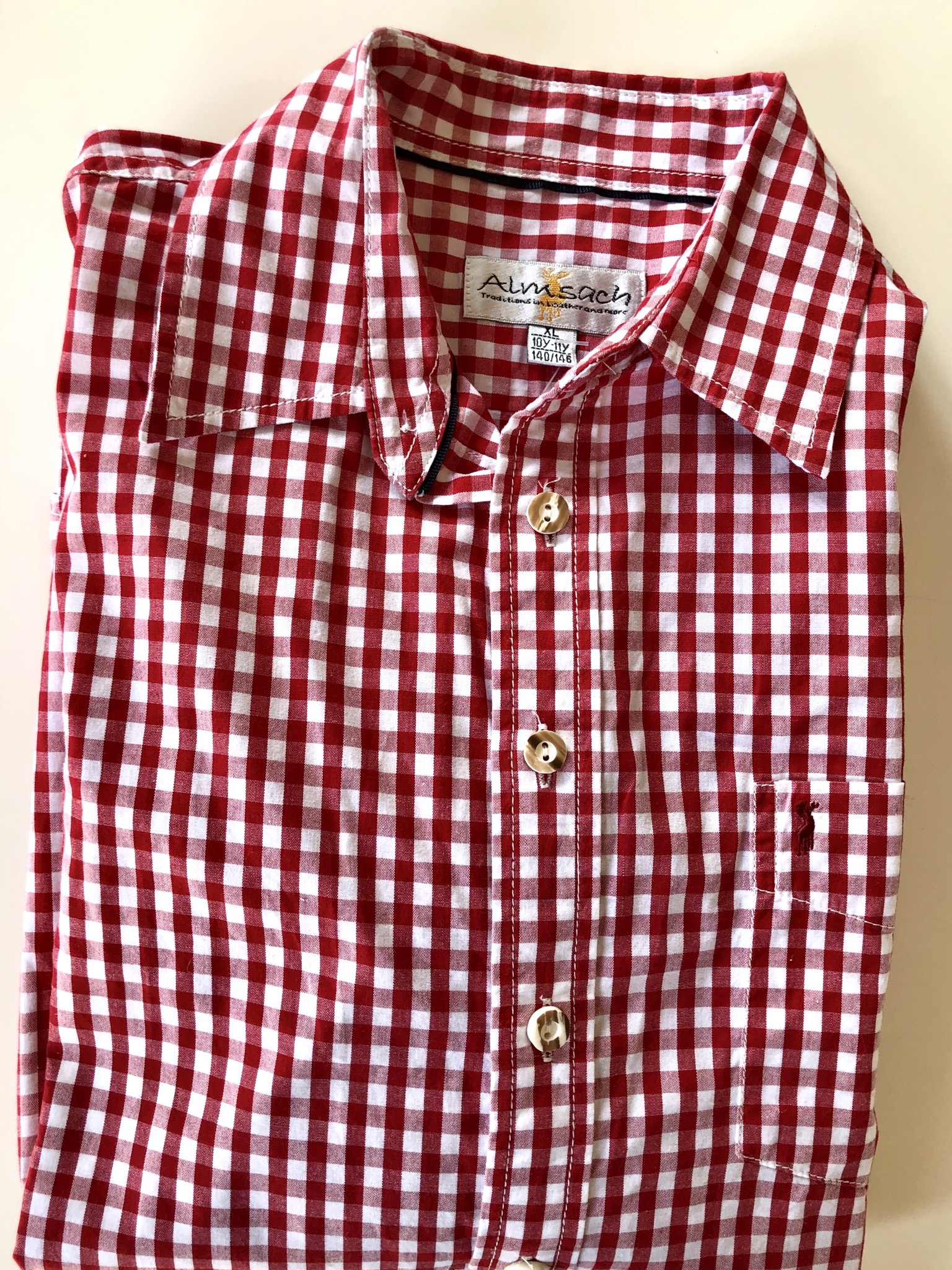 Gr. 140-146 Almsach Trachtenhemd rot