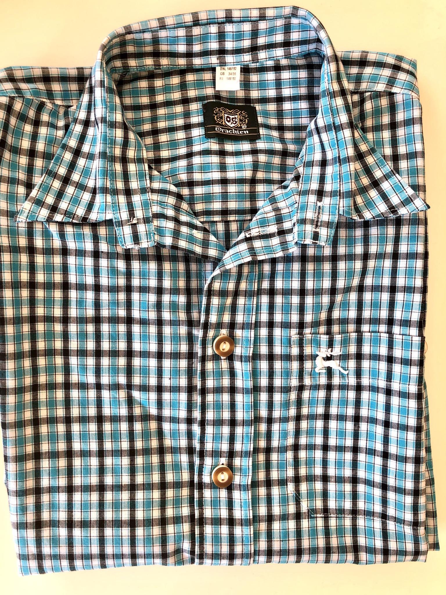 Gr. 146-152 OS Trachten Trachtenhemd blau