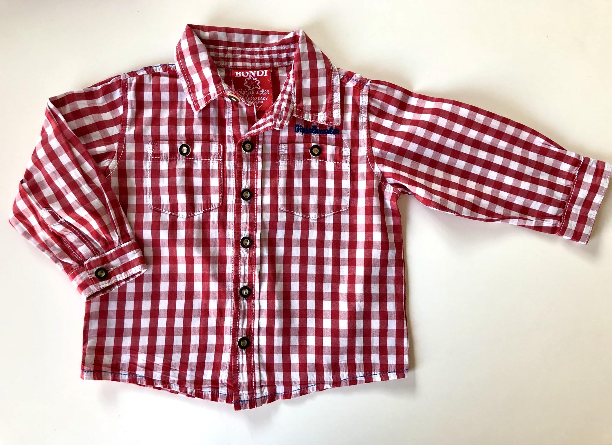 Gr. 80 Bondi Alpenglück Trachtenhemd rot
