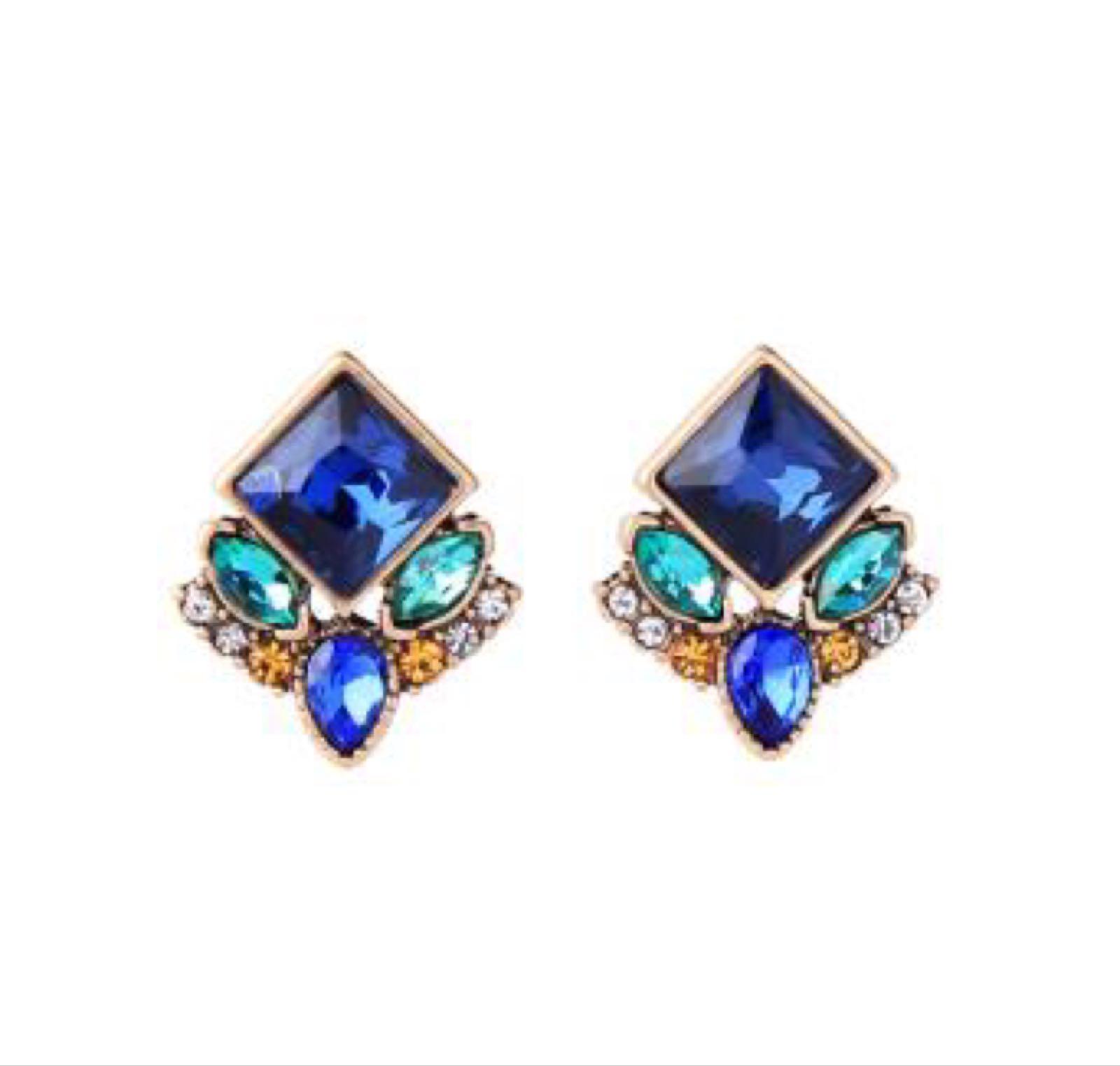 Last true angel cluster multi gem earring
