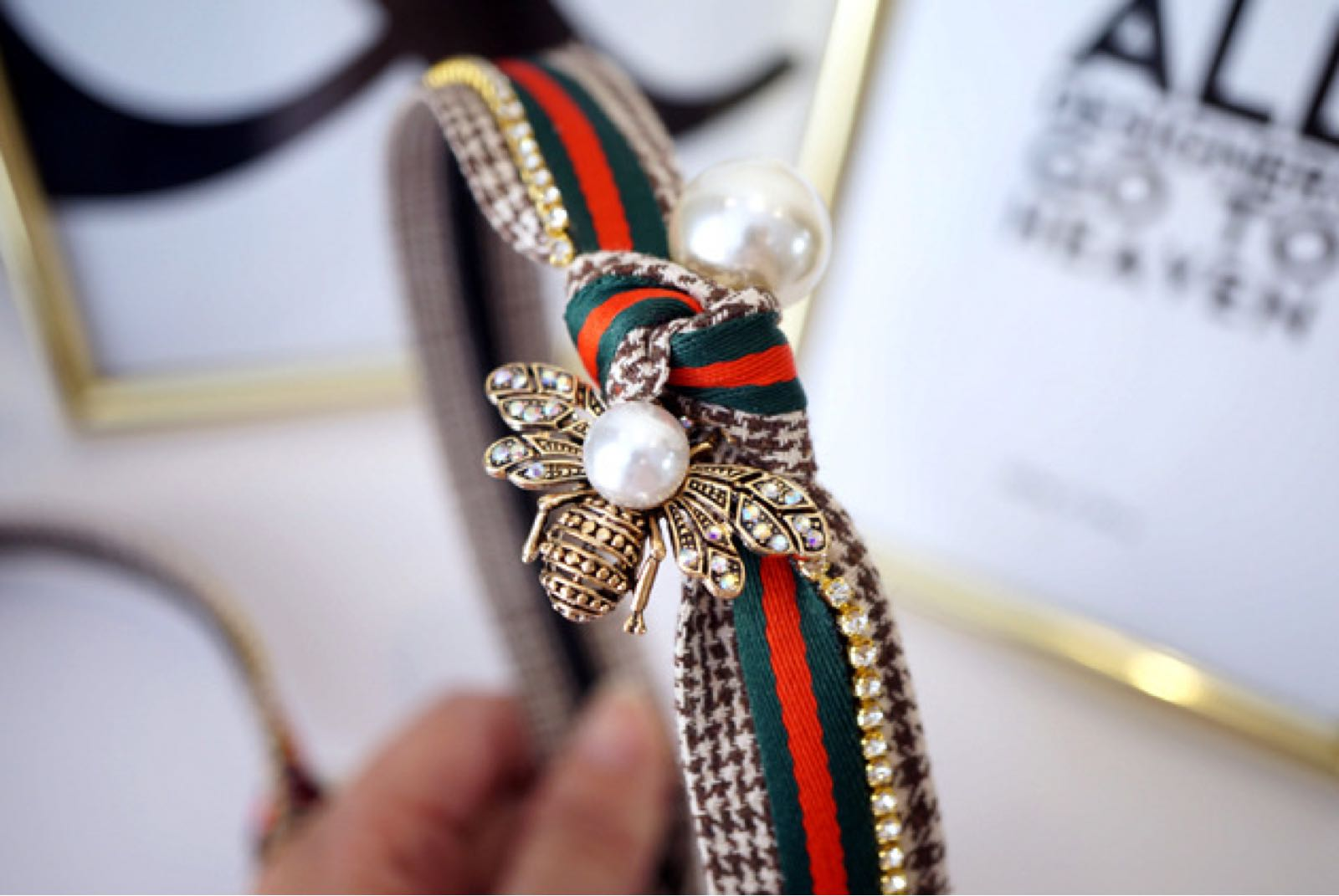 Designer inspired Headband with pearl and crystal detail and green and red check ribbon