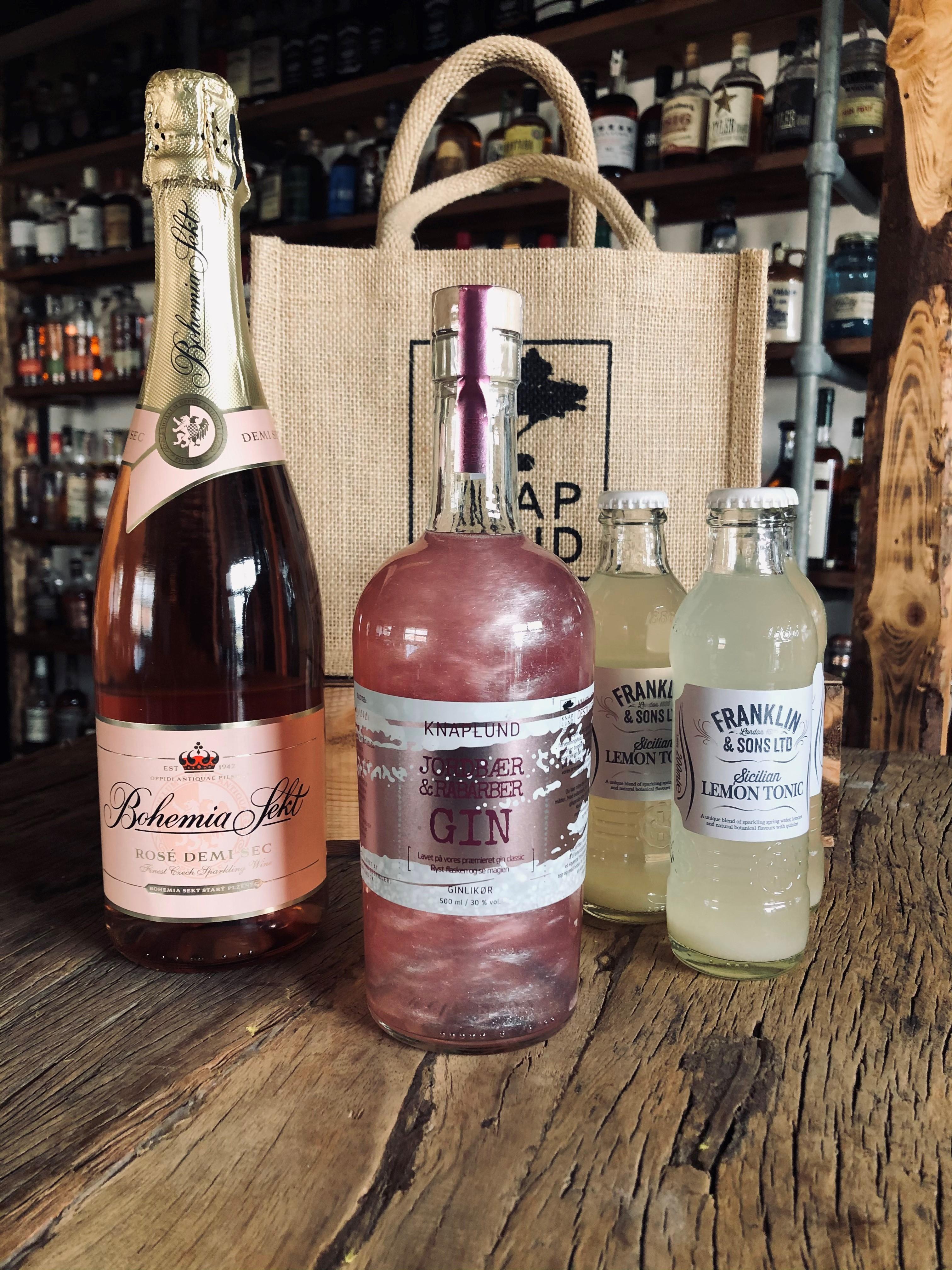 Cocktail pakke med Pink gin m/sølvglimmer | Stor bobler