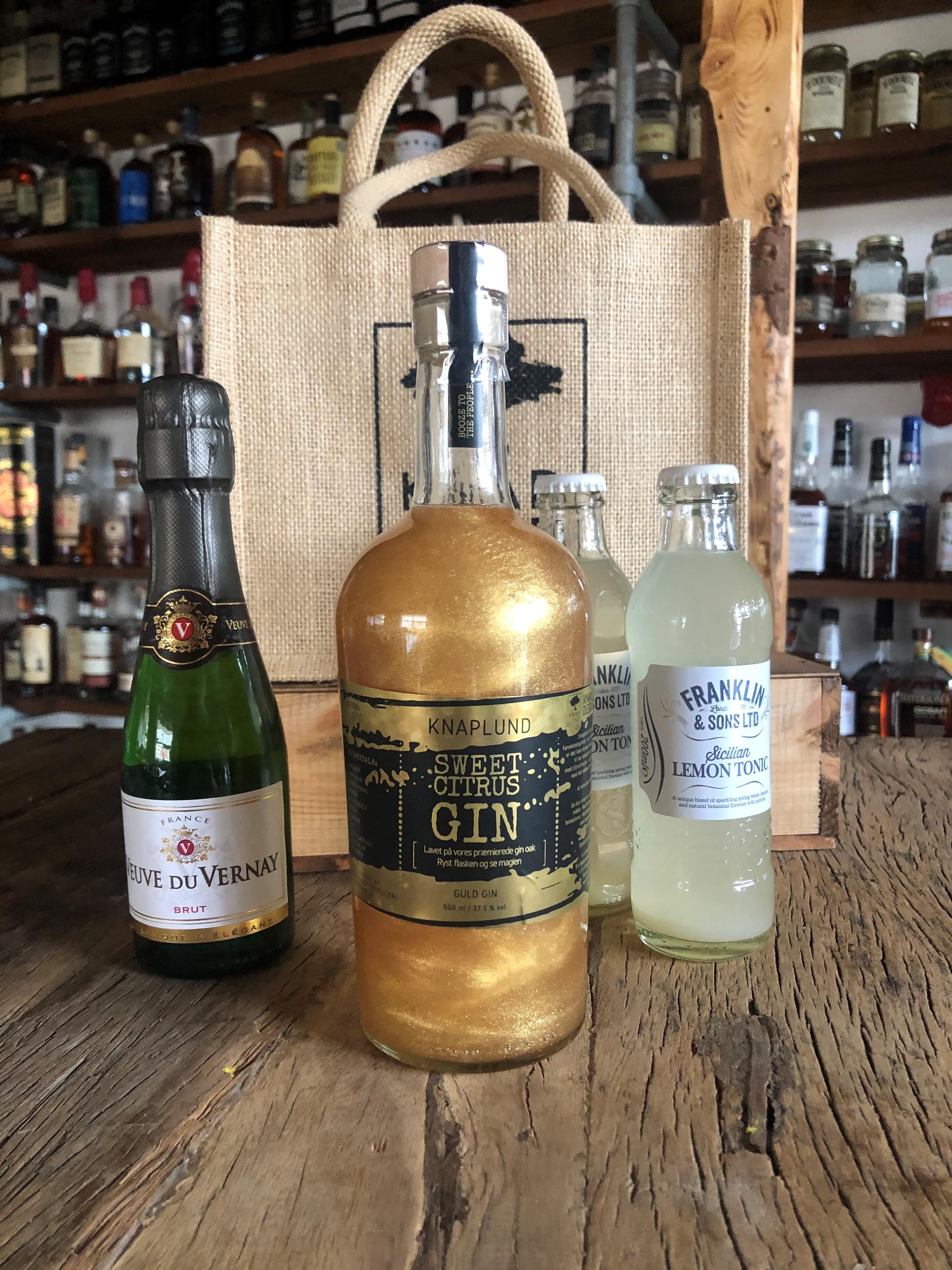 Cocktailpakke med Sweet Citrus m/guldglimmer | Lille bobler