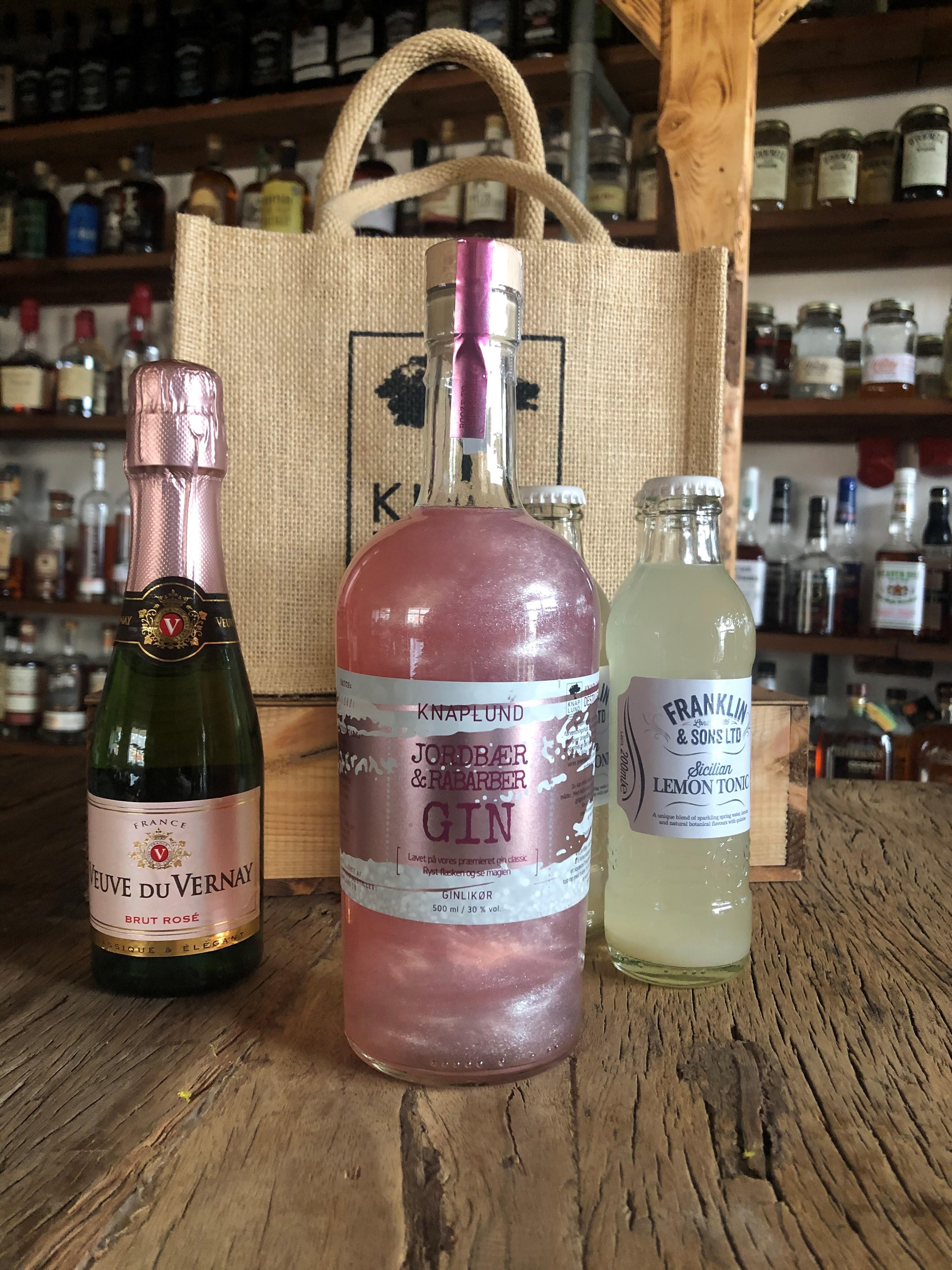 Cocktail pakke med Pink gin m/sølvglimmer | Lille bobler