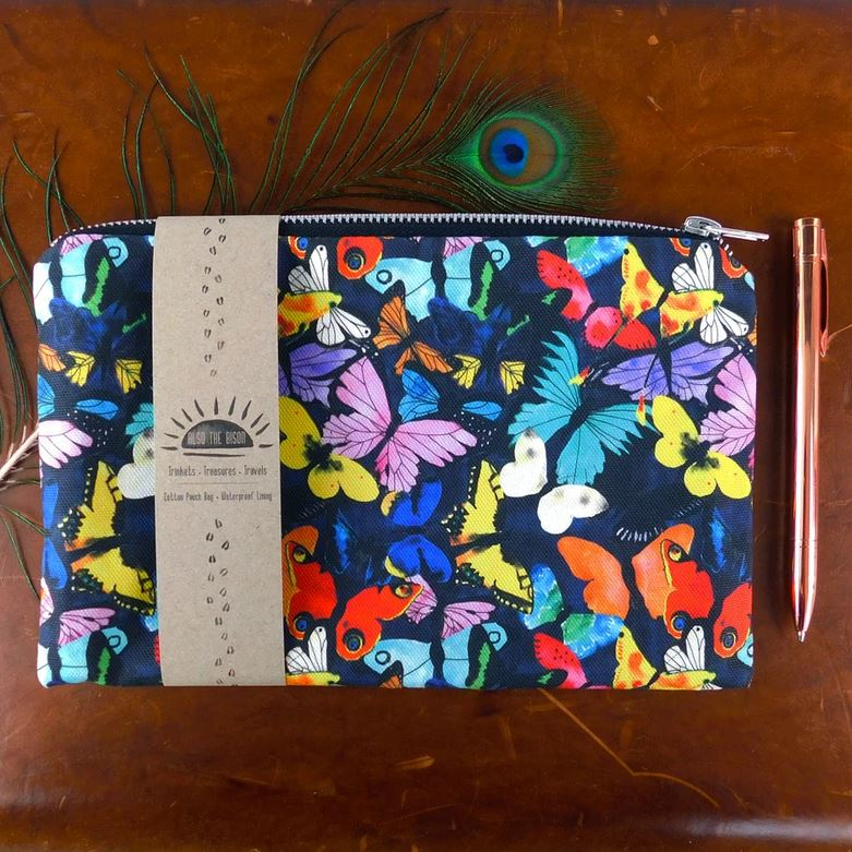 Also The Bison - Lepidoptera Butterfly Print Pouch Bag