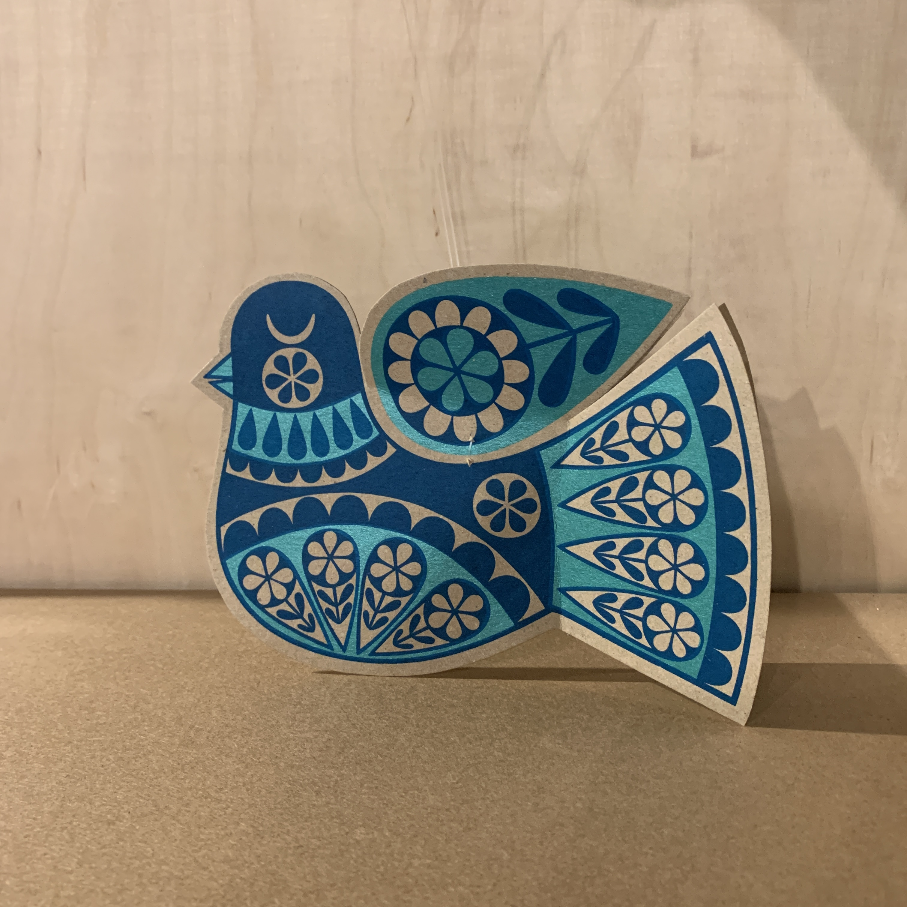 Karoline Rerrie - Screenprinted Blue Bird Decoration