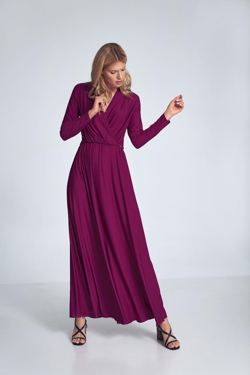 Fuchsia Maxiklänning med långa ärmar